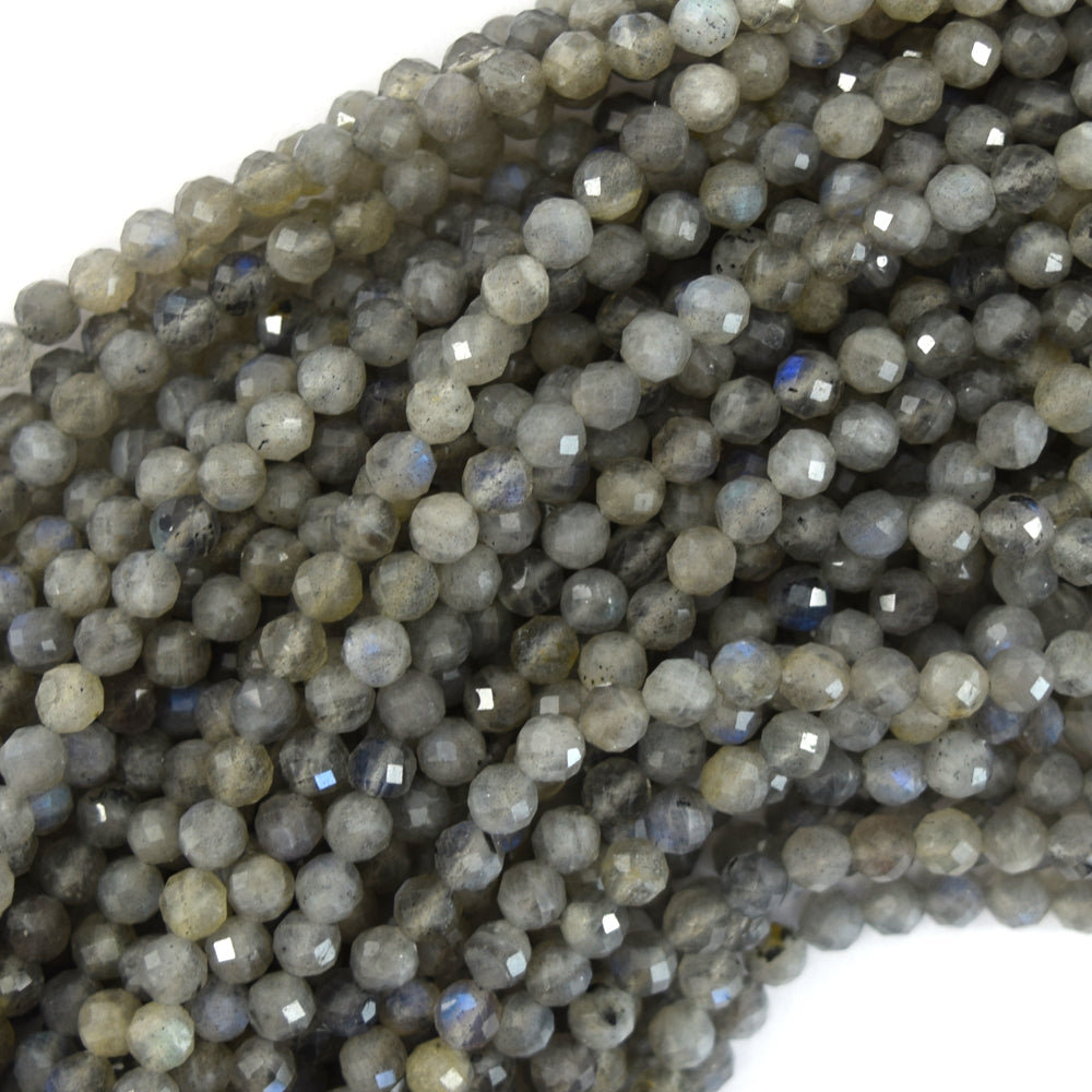 "4mm faceted grey labradorite round beads 15.5"" strand"