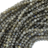 4mm faceted grey labradorite round beads 15.5