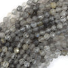 Star Cut Faceted Gray Quartz Round Beads 15