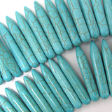 30mm blue turquoise stick needle beads 16