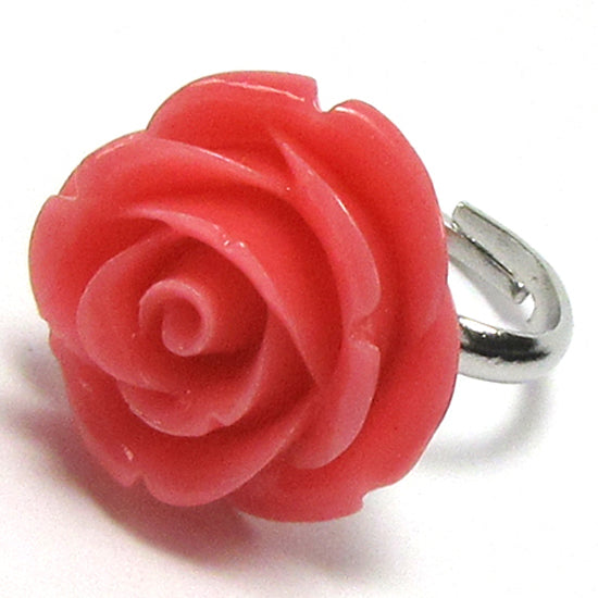24mm magenta synthetic coral carved rose flower adjustable ring size 5-7