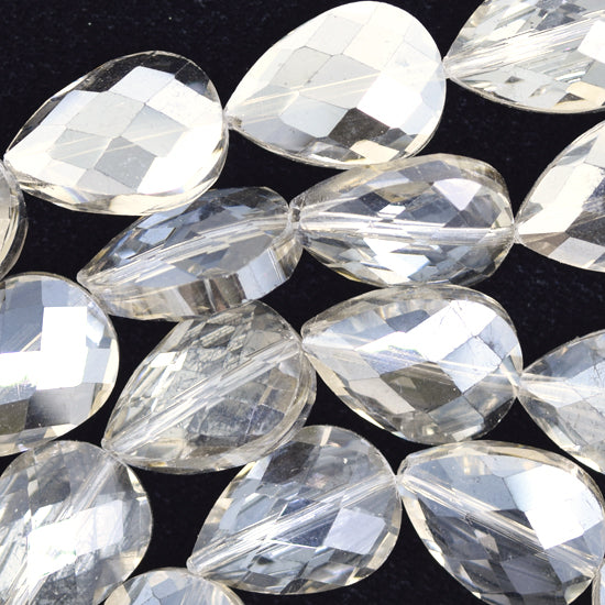 "12x18mm faceted crystal flat teardrop beads 15.5"" strand smoky"