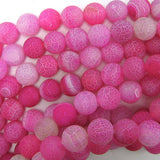 12mm matte magenta fire agate round beads 14