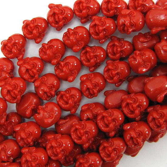 "14mm synthetic coral carved buddha beads 14"" strand red"