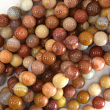 10mm brown petrified wood agate round beads 15