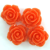 20mm synthetic coral carved rose flower pendant bead 8 pcs pink