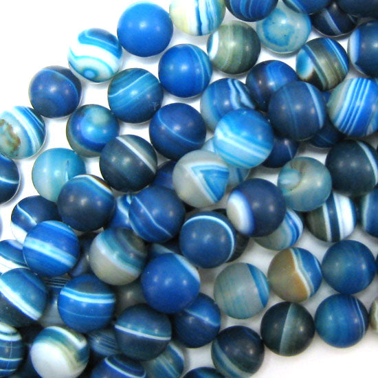 "12mm matte blue stripe agate round beads 15.5"" strand"