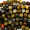 8mm faceted petrified wood agate round beads 15