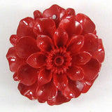 4 pieces 35mm synthetic coral carved chrysanthemum flower pendant bead red