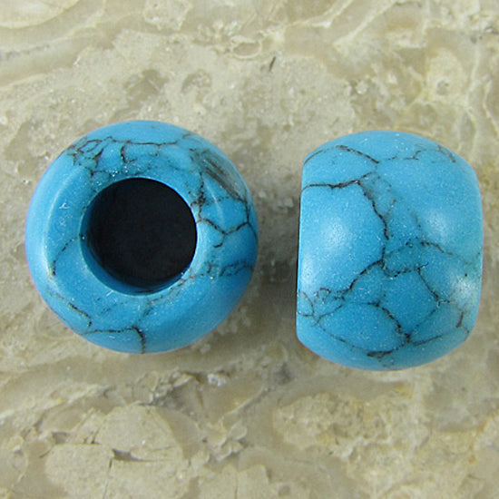 10 pieces 14mm blue turquoise beads with 6mm hole