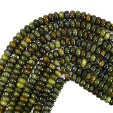 "6mm faceted flower jade rondelle beads 15"" strand"