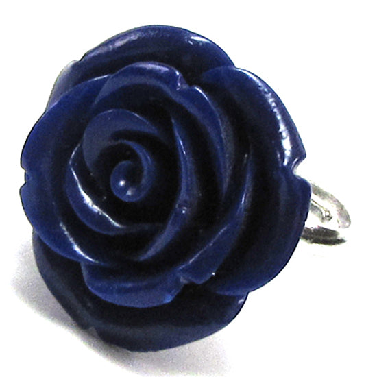 20mm dk blue synthetic coral carved rose flower adjustable ring size 5-7