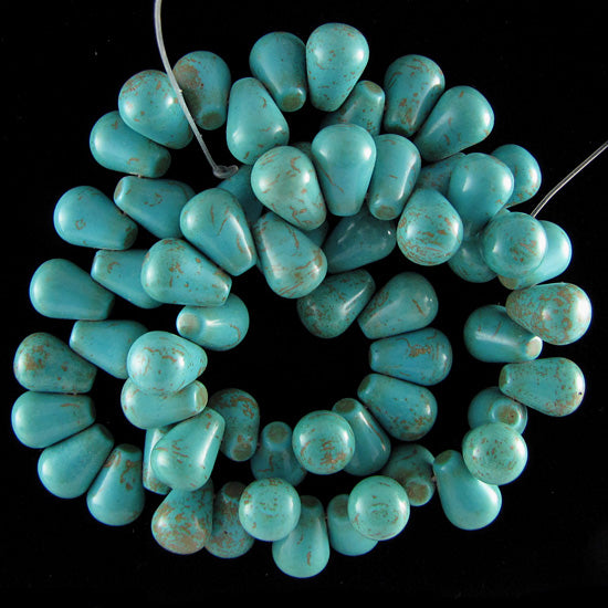 "14mm blue turquoise teardrop beads 16"" strand top drilled"