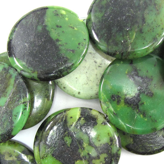 "40mm green chrysoprase coin beads 15.5"" strand"