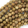 Natural Fossil Jasper Round Beads Gemstone 15.5