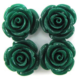 8 24mm synthetic coral carved rose flower pendant bead green