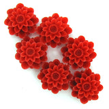 18mm red synthetic coral carved chrysanthemum flower pendant bead 6pcs