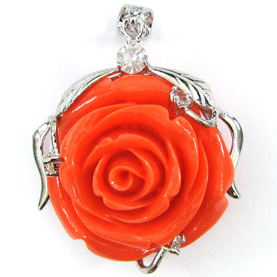 4 pieces 34mm synthetic coral carved rose flower pendant beads red