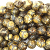 10mm green Tibetan DZI agate round beads 14