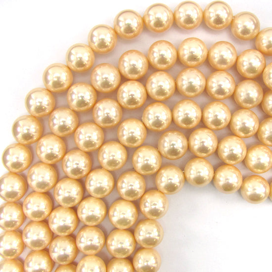 "12mm pink shell pearl round beads 15"" strand"
