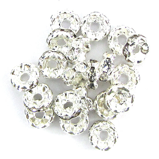 20 12mm silver plated rhinestone rondelle beads clear findings