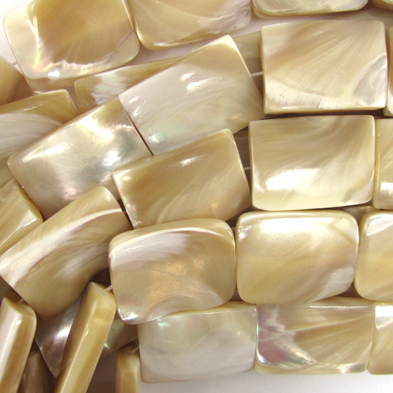 "20mm natural mother of pearl mop rectangle beads 16"" strand"