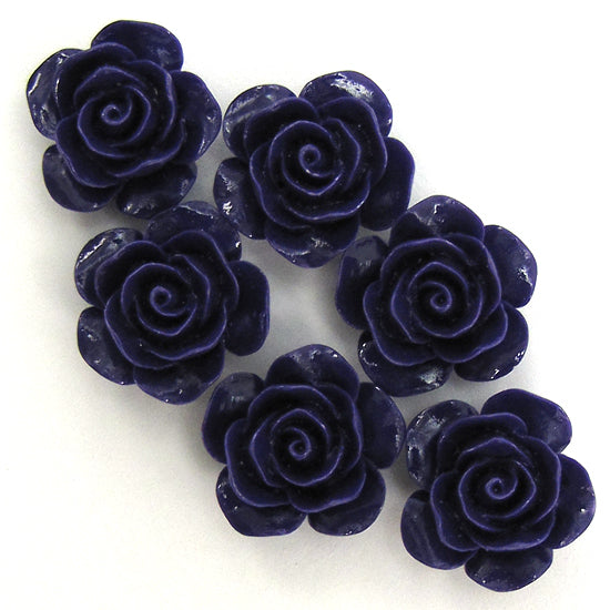"15mm synthetic coral carved rose flower beads 15"" strand 24 pcs purple"