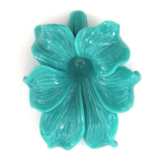 2 pieces 47mm synthetic coral carved morning glory flower pendant beads blue