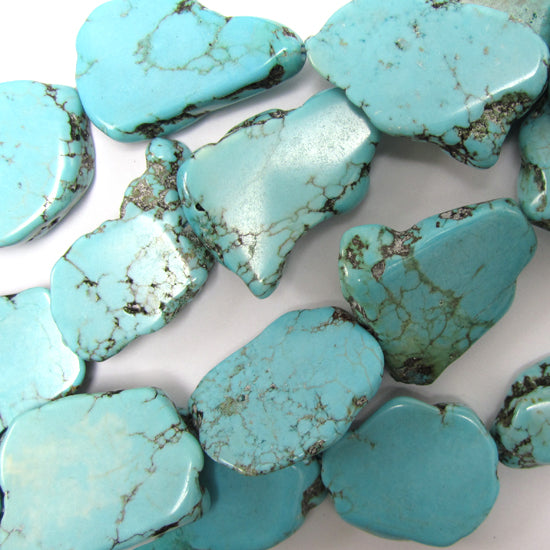 "20mm - 25mm blue turquoise freeform slab slice nugget beads 15"" strand"