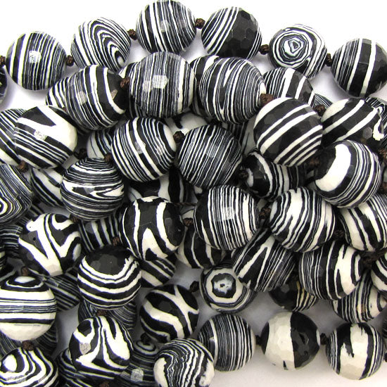 "14mm faceted black rainbow calsilica round beads 11"" strand"
