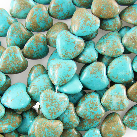 "18mm blue turquoise heart beads 16"" strand"