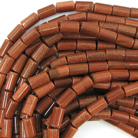 "14mm goldstone tube beads 15"" strand"