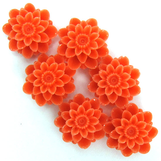 18mm synthetic pink coral carved chrysanthemum flower pendant bead 6pcs