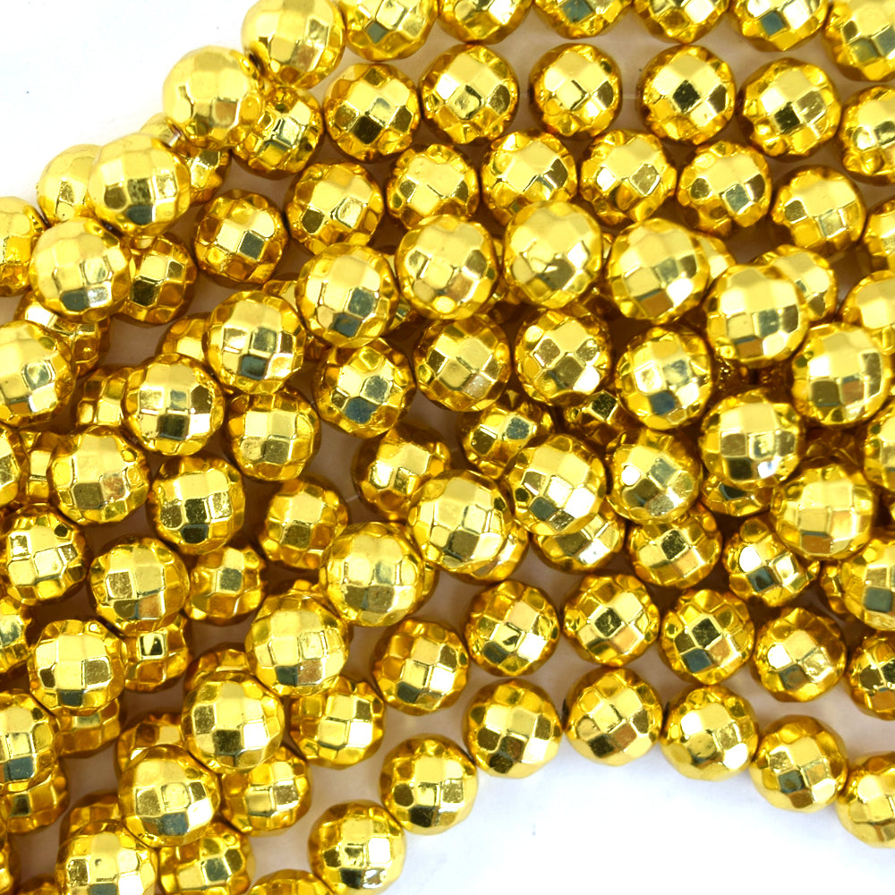 "8mm faceted bright gold metallic hematite round beads 15.5"" strand"