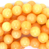 12mm yellow jade round beads 15.5