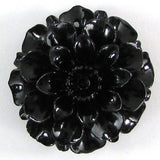 4 pieces 35mm synthetic coral carved chrysanthemum flower pendant bead black