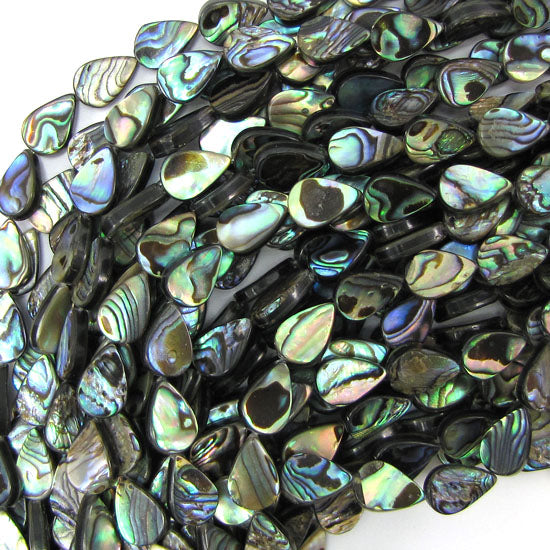 "12mm abalone shell flat teardrop beads 16"" strand"