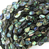12mm abalone shell flat teardrop beads 16
