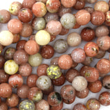 8mm pink yellow jasper round beads 15.5
