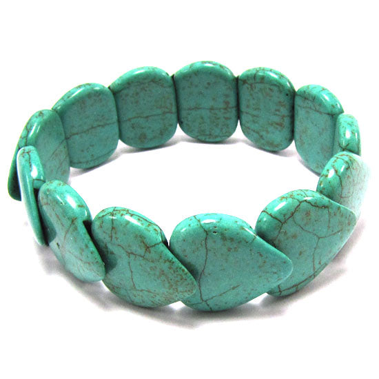 20mm green turquoise stretch bracelet 7""