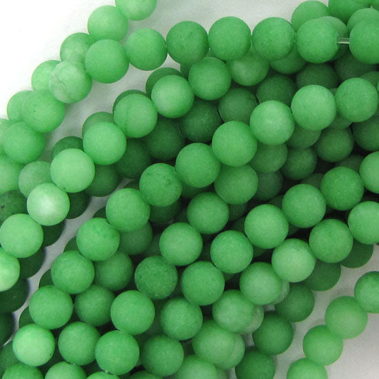 "6mm matte green jade round beads 15"" strand"
