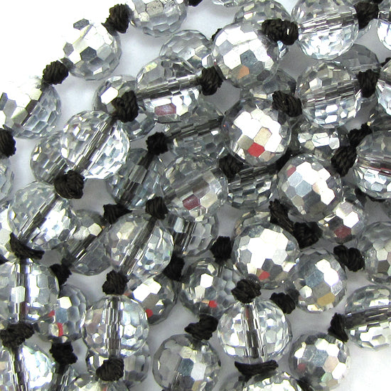 "12mm faceted quartz round beads 16"" strand rainbow clear"