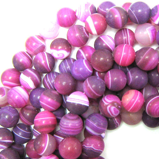"12mm magenta frost stripe agate round beads 15.5"" strand"