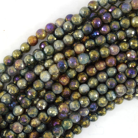 "8mm black brown dream agate round beads 15"" strand"