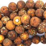 12mm matte brown Tibetan DZI agate round beads 15