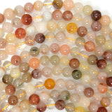 6mm multicolor rutilated quartz round beads 16