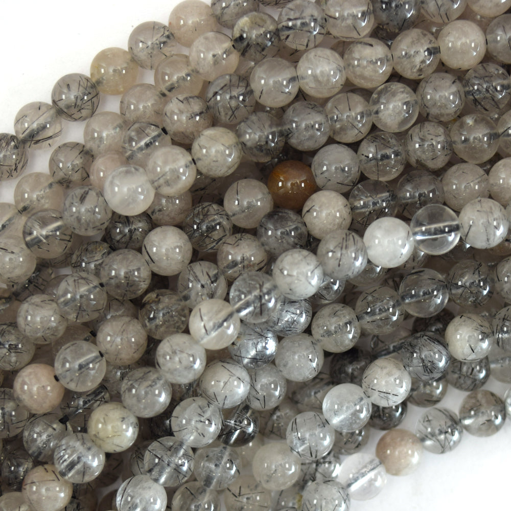 "Natural Black Rutilated Quartz Round Beads 15.5"" Strand 4mm 6mm 8mm 10mm 12mm"