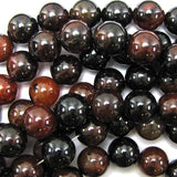 14mm black brown agate round beads 15