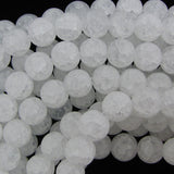 14mm matte white crack crystal round beads 15.5