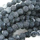 10mm matte black fire agate round beads 15